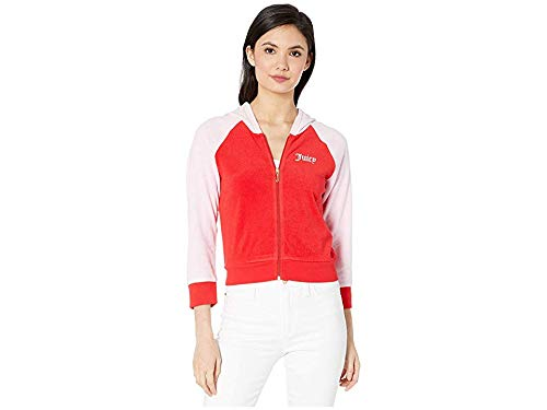 Logo Block - Juicy Couture Women's Juicy Color Block Microterry Logo Hood Jacket True Red Large