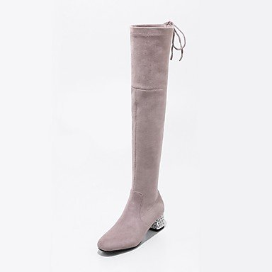RTRY Women'S Shoes Suede Fall Winter Fashion Boots Boots Chunky Heel Square Toe Thigh-High Boots Zipper Lace-Up For Party &Amp; Evening Dress US10.5 / EU42 / UK8.5 / CN43 bAL3a6