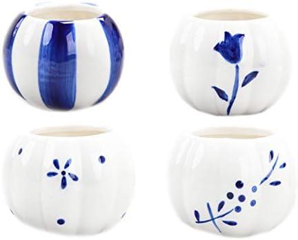 かわいいカボチャの形の陶磁器の植木鉢、青と白の磁器のカボチャの形の小さい植木鉢、家庭の小さい清新な植木鉢、かわいい植物の植木鉢、多い肉の植物の小さい植木鉢、ひとまとまりの製品は4つの小さい植木鉢を含みます。