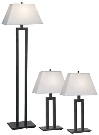 Contemporary Trio Table And Floor Lamp Set Household