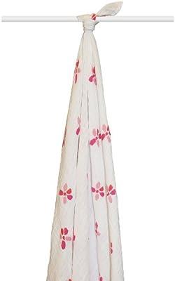 aden + anais 9101 - Muselina individual, 100% algodón orgánico, color blanco y rosa: Amazon.es: Bebé