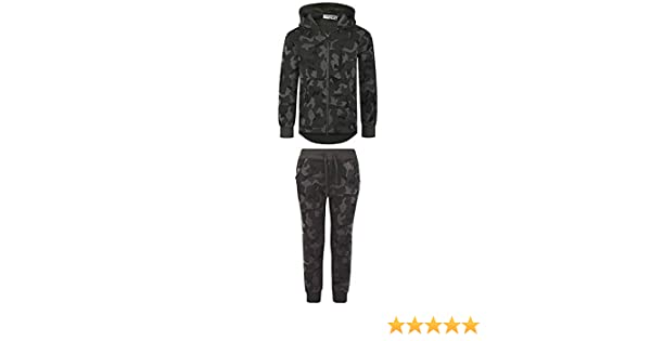 LOTMART Boys Geometric Camo Print Tracksuit Kids Hood Top Jogging Bottoms