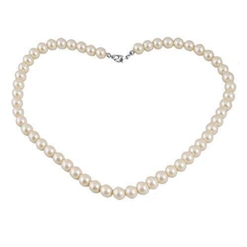 - Dcolor Plastic Screw Clasp White Single Strand Faux Pearl Necklace