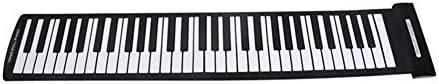 ミュージカルおもちゃ ポータブル61キーの柔軟なロールアップピアノUSB MIDI電子キーボードハンドロールピアノミュージカルおもちゃ 脳を発達させるための教育玩具 (色 : Black, Size : Ones)