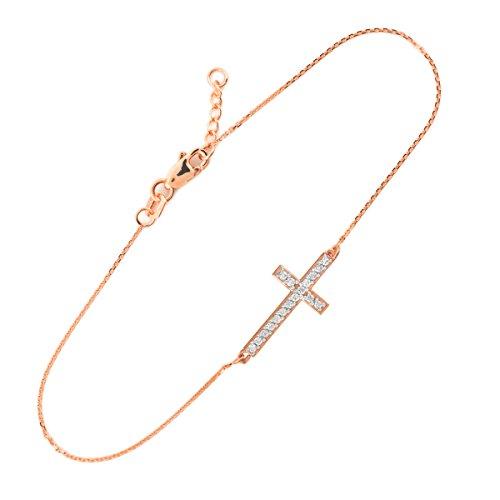 Petits Merveilles D'amour - 14 ct Or Rose Diamant latérale Croix Bracelet