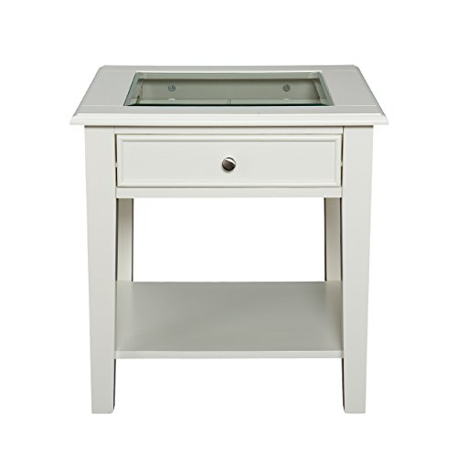 Glass Wide End Table - Southern Enterprises Panorama End Table, Off-White Finish