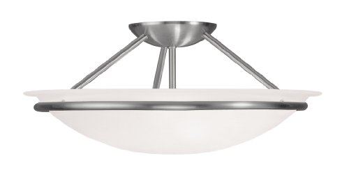 Livex Lighting 4824-91 Newburgh 3-Light Ceiling Mount, Brushed Nickel Brushed Nickel Large Flush