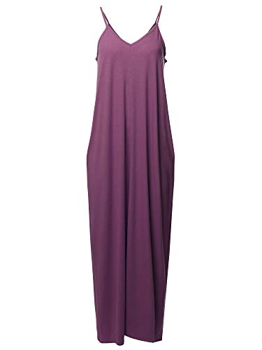 (Casual Premium Adjustable Strap Side Pockets Loose Long Maxi Dress Eggplant M )