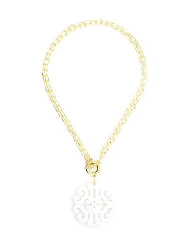 - ZENZII Statement Scroll Pendant Necklace (White)