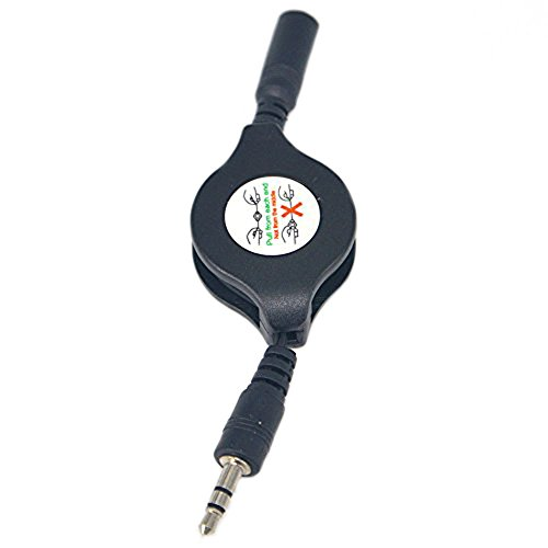 (Retractable 3.5mm Stereo Male Plug to 3.5mm Female Jack Car Aux Auxiliary Retractable Stereo Audio Cable Cord Connector Pack of 2)