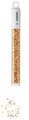 (Miyuki Delica Hex Seed Bead 11/0 DBC0042, Silverlined Gold, 9-Gram/Pack)