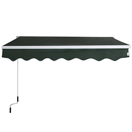 Goplus Manual Patio 8.2'×6.5' Retractable Deck Awning Sunshade Shelter Canopy Outdoor (Green) by Goplus