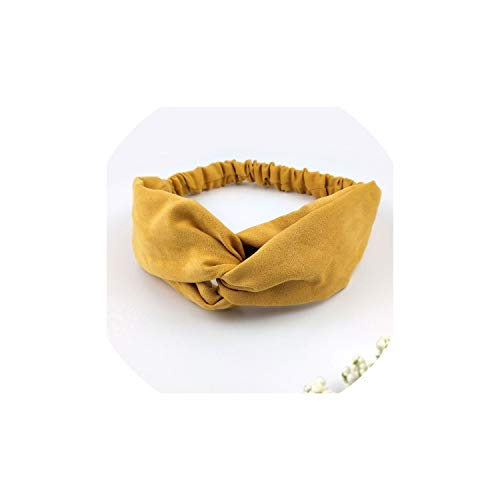 Lady hairband Solid color Headband Turban Elastic Head Wrap Women Hair Accessories for Women Striped Hair Bands C08,Yellow
