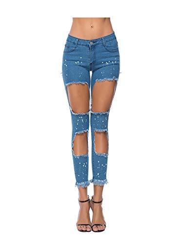 De Mujer Wathet Pantalones Bordes Agujeros Elásticos Ajustados Altos Jeans Finos DAMENGXIANG Lavados 4SEwxZ6qWp
