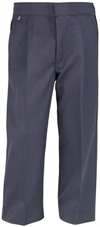 Charcoal Half Elastic Extra Sturdy Fit Junior Trousers Black Navy Brown Grey