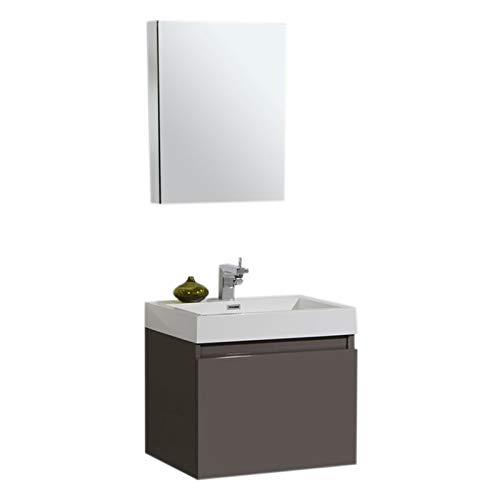 Aquamoon Venice Modern Bathroom Vanity - Infinity Bathroom Sink - Comes w/Medicine Cabinet and FCUBIC01 Chrome Faucet (24
