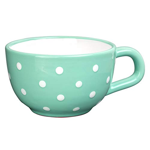 City to Cottage Handmade Ceramic Designer Teal Blue and White Polka Dot Cup, Unique Extra Large 17.5oz/500ml Pottery Cappuccino, Coffee, Tea, Soup Mug | Housewarming Gift for Tea Lovers