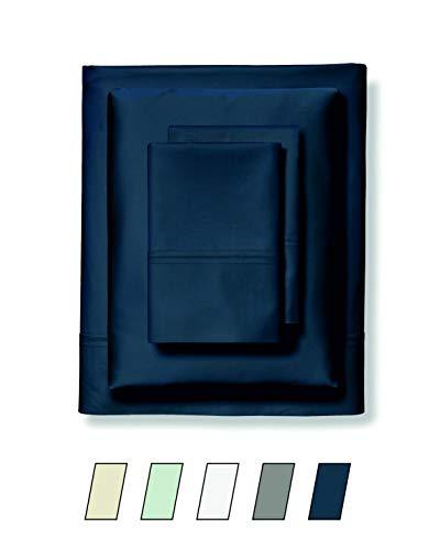 - Rainier Fine Linens Queen Size Bed Sheets - 400 Thread Count Long Staple Cotton Sheet Set, Fits Mattress Upto 15'', Deep Pocket, Soft & Sateen Weave 4 Piece Bedding Set - Navy Blue, Queen