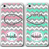 iPhone 6 6S Plus Case,Mint Pink Silver Chevron Monogram Design Lovers Couple Best Friends TPU Frame Hard White Case Cover Skin For 5.5