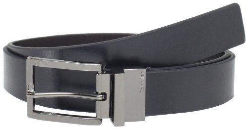 Calvin Klein Mens Flat - Calvin Klein Men's 32mm Reveversible Flat Strap Buckle, Black/Brown, 34