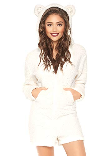 Leg Avenue Women's Fuzzy Zip-up Polar Bear Romper with Pockets and Ear Hood, Ivory, S