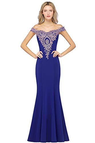 MisShow Women's Long Prom Gold Lace Dress Off Shoulder Evening Gowns Royal Blue 12
