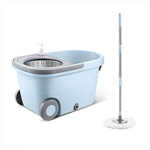 SSN Rotary Rod mop Folding Lever mop Bucket Wet and Dry mop Free Hand wash mop Home Floor Tile Wood Floor can be Suspended Absorbent mop (Color : Blue)