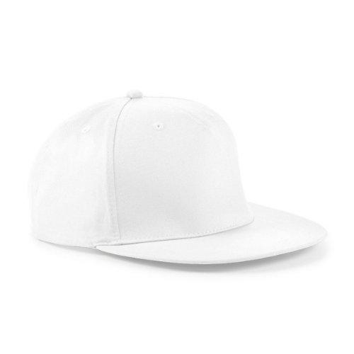 Beechfield - Gorra/Visera diseño Rapero/Rapper/Hip Hop/NBA 5 Paneles Modelo Retro Blanco