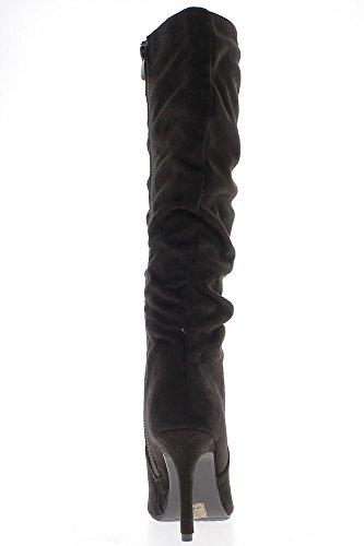 Stiefel gut 9,5 cm Wildleder Blick Ferse braun Spitz
