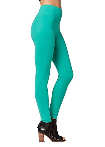 Conceited Super Soft High Waisted Women's Leggings - Opaque Full Ankle Length - Kelly Green - Plus Size (12-22)