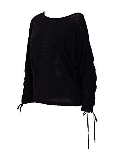 Monocromo Nero Shoulder Tunica Elegante Top Lunghe T Shirts Shirt Bluse Primaverile Stlie Donna Casual Tops Autunno Maniche Fashion Off Baggy Grazioso W0p18qxRwx