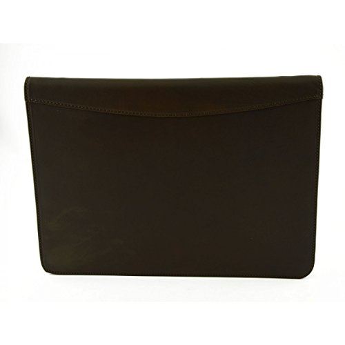 Carpeta Documentos A4 En Piel Verdadera Con Compartimentos Interiores Color Marrón Oscuro - Peleteria Echa En Italia - Business
