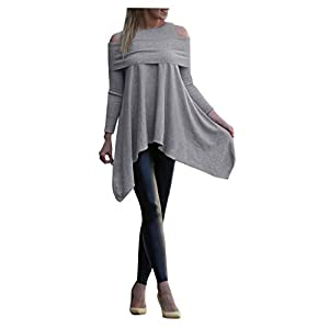 Buyao Women Long Sleeve Flowy Tops Blouse Plus Size Casual Loose Fit Cold Shoulder Long Tunic Tops Wear with Leggings