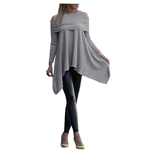 TOTOD Women Irregular Design Tops Long Sleeve Bare Shoulders Sweatshirt Loose Solid Color Pullover Gray