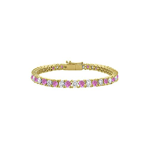 Created Pink Sapphire Tennis Bracelet with CZ 10CT TGW on 18K Yellow Gold Vermeil. 7 Inch ()