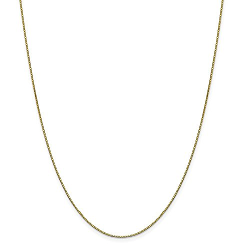 10k Gold Solid Box Chain Necklace with Lobster Clasp (0.8mm) - Yellow-Gold, 18 ()