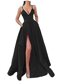 Women's Spaghetti Straps Satin Slit Prom Evening Dresses with Pockets