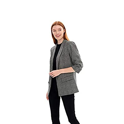 Charis Allure Women's Solid Long Sleeves Roll Up Blazer Open Front Suit Jacket: Clothing