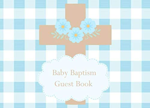 Baby Baptism Guest Book: Blue Gingham Cross with Flowers Design Cover