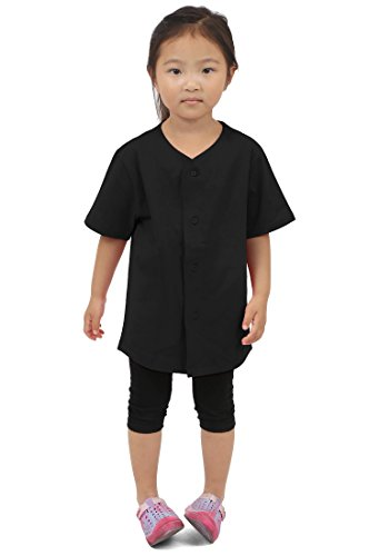 Kids Baseball Button Down Jersey Uniform Plain Xxs-xl (Medium, Black)