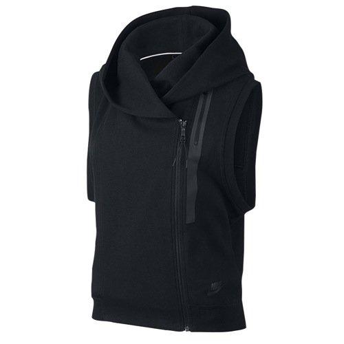 Women's Nike Hooded Tech Fleece Vest, Size X-Large - Black