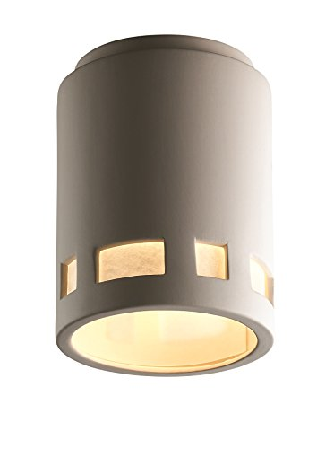Justice Design Group Lighting CER-6107W-BIS Outdoor Flush-Mount with Ceramic Bisque Shades, White