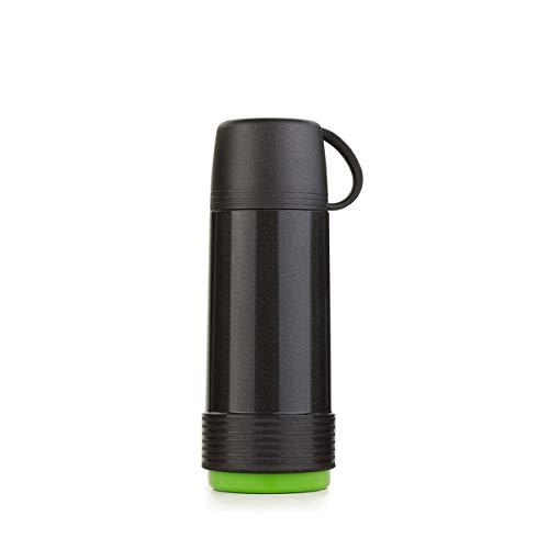 Valira 6110/128 Termo para liquidos de 0,5 L con Botella de Vidrio Aislante de Doble Pared Hecho en Espana, Color Negro-Verde