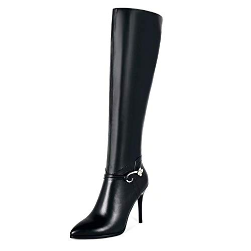 Chris-T Women Fashion Over The Knee high Boot Zipper Pointed Toe Leather Stiletto Heel Thigh High Western Boots Black