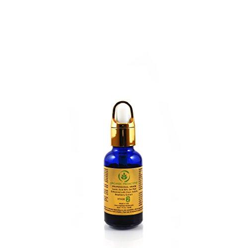 ORGANIC PROACTIVE, PROFESSIONAL GRADE, Lactic Acid 50% Gel Peel 1 FL.Oz - Enhanced with Kojic Acid & Bearberry Extract