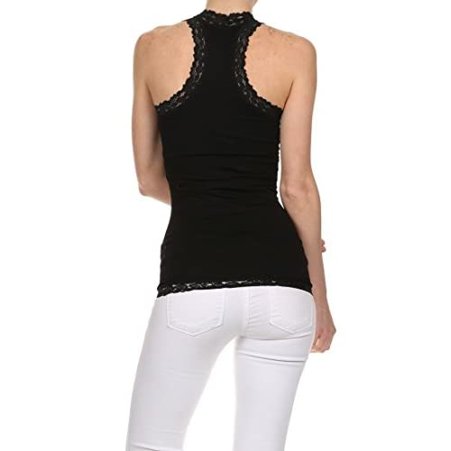2a23be0f5d8fb9 well-wreapped ICONOFLASH Stretchy Nylon Racerback Tank Top with Stretch  Lace Trim