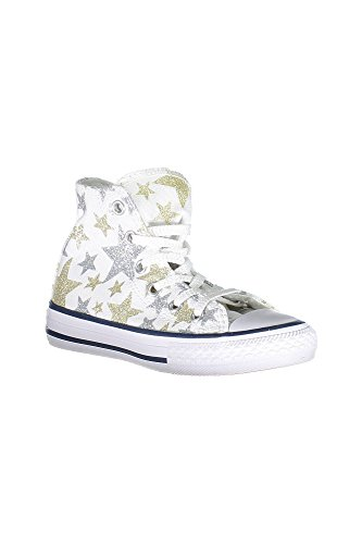 bb0465fee6c Converse Kids Chuck Taylor All Star Hi Little Kid White Silver Gold Girls  Shoes