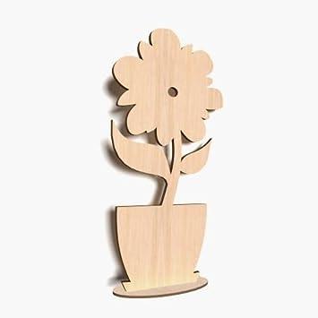 10x Stehendestehende Blume Holz Form Blank Basteln Bemalen Raum