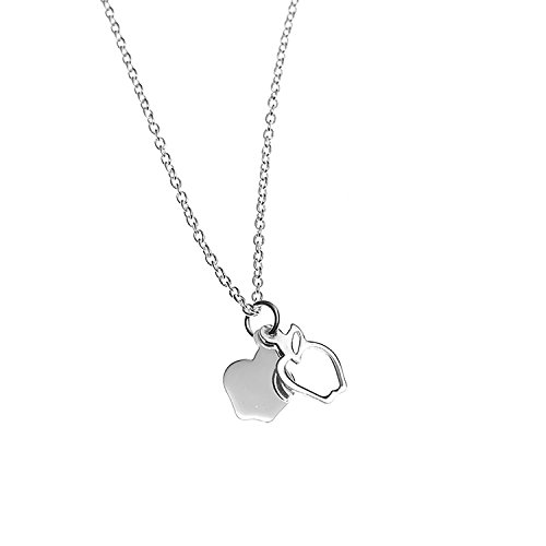 925 Sterling Silver Two (2) Apples Pendant Necklace, 18 inches - Nickel Free - Sterling Silver Apple Pendant