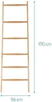 Navaris Escalera toallero de bambú - Perchero Organizador con 6 peldaños - Porta Toallas para apoyar en la Pared - Toallero de pie Vintage - 1.7 M: Amazon.es: Hogar